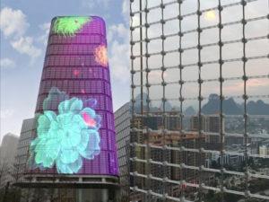 cortina transparente fachada edificio